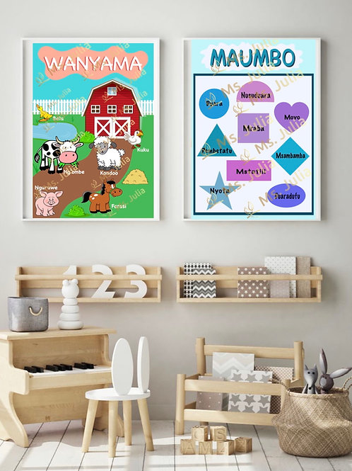Swahili Package #1 - 11 Large Educational Posters (FREE SHIPPING)
