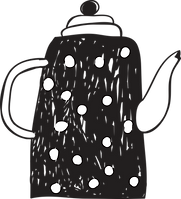 a tea/coffee pot line drawn in black with white spots