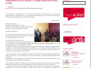Corinne BORD, Conseillère Régionale IdF pour l'inauguration de la crèche l'Orange Bleue de Noisy