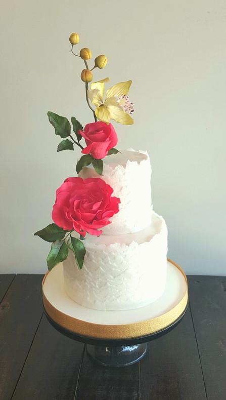 Torta Waffer y Rosas