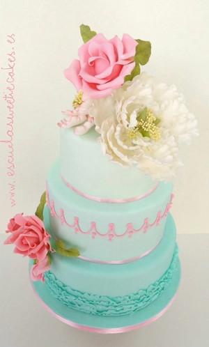 Torta Aqua y Floral