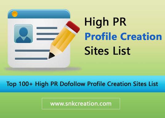 high pr profile creation sites list 2018