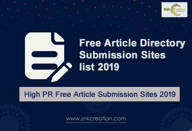 Free Article Submission Sites List 2019