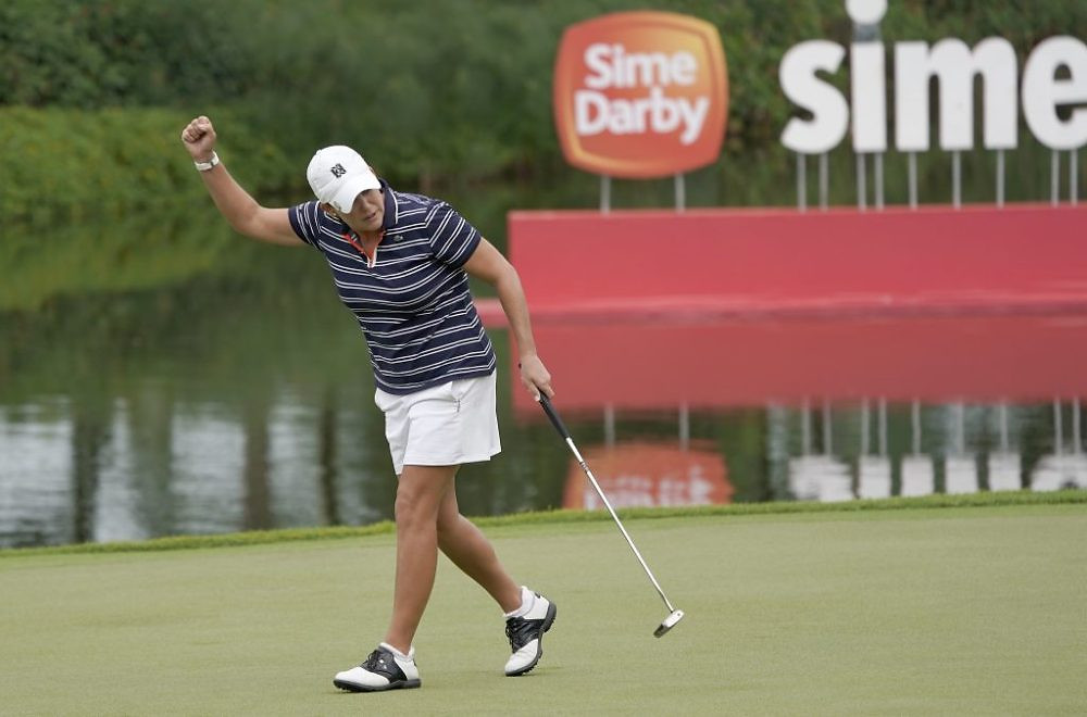 Cristie Kerr of the USA celebrates her birdie putt to win the Sime Darby LPGA during day four of the Sime Darby LPGA Malaysia at TPC Kuala Lumpur East Course on October 29, 2017 in Kuala Lumpur, Malaysia...Pic By Khalid Redza/IMG