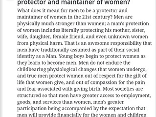 Wikipedia Answers asked:  What does it mean for a man to be a protector and maintainer of women in t