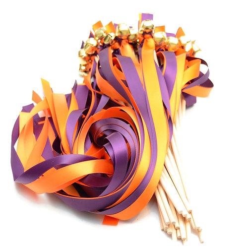 25 Plum & Orange Ribbon Bell Wedding Wands #WeddingWands #