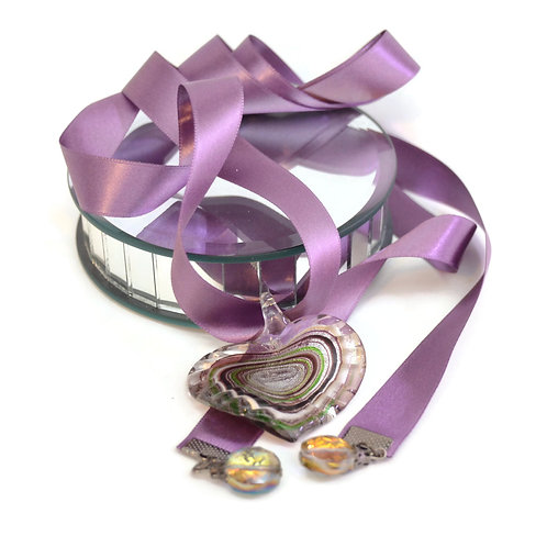 Boho Glass Heart  Luxury Ribbon Necklace