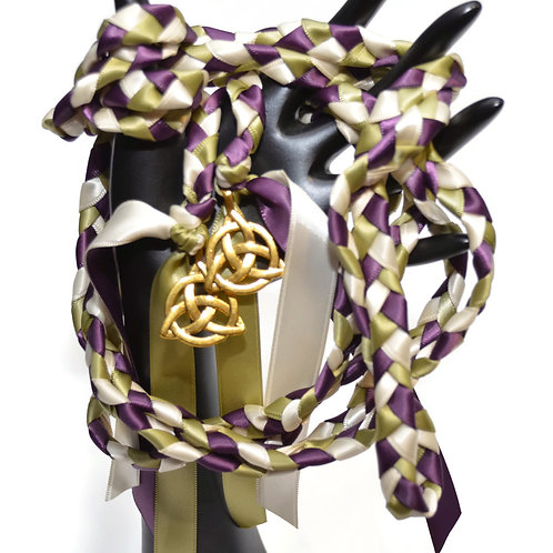 Amethyst Sage Brass Celtic Triquetra Knot Wedding Handfasting 9ft Cord #Wedding