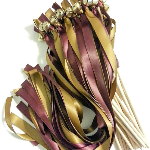 25  Raisin & Antique Gold Ribbon Bell Wedding