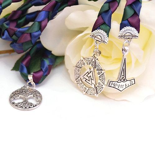 Divinity Braid 3 Charm Norse Theme Wedding Handfasting Cord