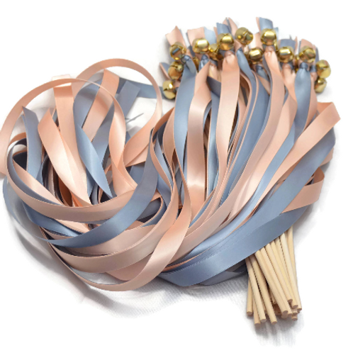 100 Ribbon Bell Wands Dusty Blue & Pale Peach #WeddingWands