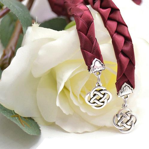 Burgundy Silver Knot Wedding Handfasting V4 Cord
