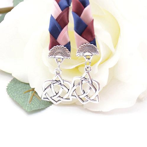 Rosegold Navy Burgundy Celtic Heart Knot v4 Wedding Handfasting Cord #Wedding