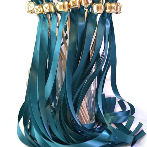 25 Soild Teal Ribbon Bell Wedding Wands #WeddingWands #