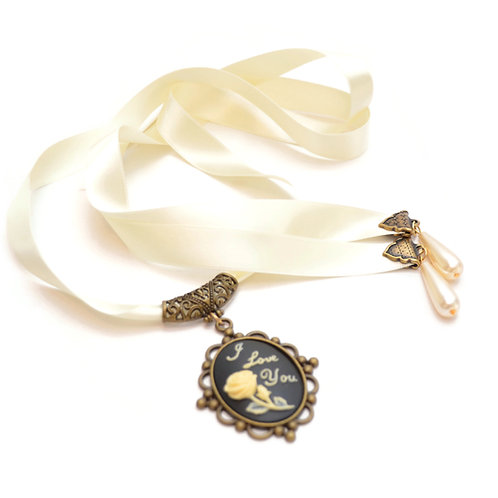 OOAK Statement Cameo Luxury Ribbon Necklace