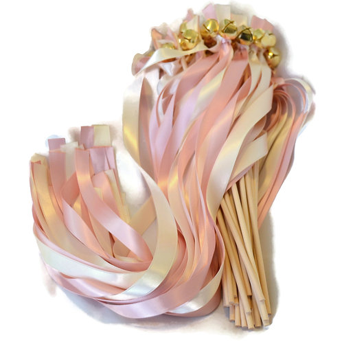 50 Pink Blush & Ivory  Ribbon Bell Wands #WeddingWands #FairyWands