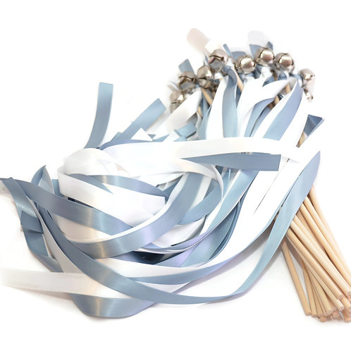 25 Dusty Blue & Diamond White Ribbon Silver Bell Wedding Wands #DivinityBraid