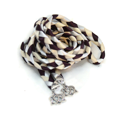 Plum Silver Celtic Heart Knot Handfasting  Cord #Wedding #Handfasting