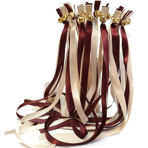 50 Ribbon Bell Wands Burgundy & Ivory #WeddingWands #FairyWands