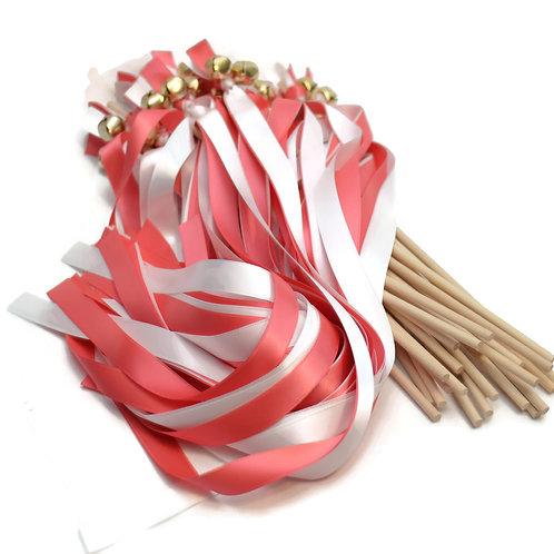 25 Coral Reef & White Ribbon Bell Wedding Wands #Wedding