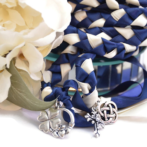 Divinity Braid 4 Charm Navy Ivory Wedding Handfasting 6ft Cord #Wedding