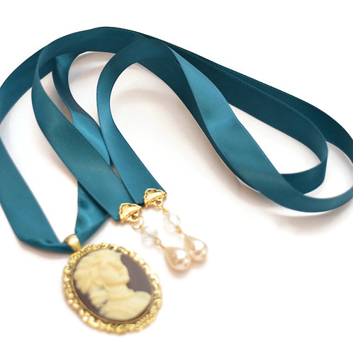 OOAK Teal Victorian Cameo Ribbon Necklace