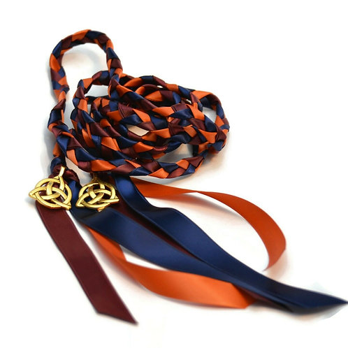 Divinity Braid  Autumn Navy Celtic Triquetra Wedding Handfasting 6ft Cord #
