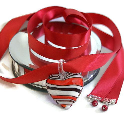 Scarlet Red Boho Glass Heart  Ribbon Necklace
