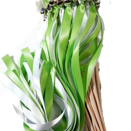25 Apple Green & White Ribbon Bell Wedding