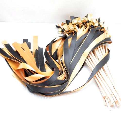 25 Black & Old Gold Ribbon Bell Wedding Wands #WeddingWands