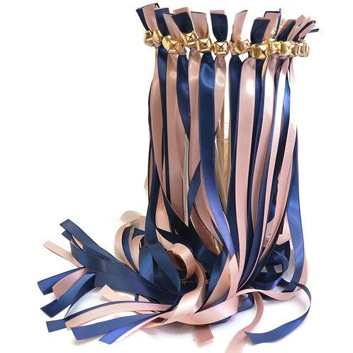 100 Ribbon Bell Wands Navy & Antique mauve Aka Ballet AKa Qaurtz #WeddingWands