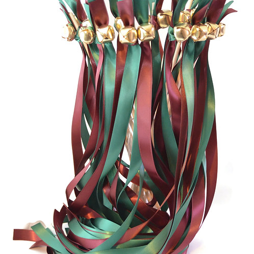25 Forest & Burgundy Ribbon Bell Wedding Wands #WeddingWands