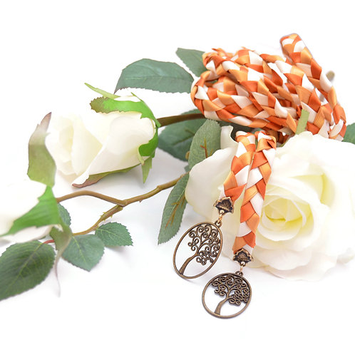 Copper Gold Ivory  Tree of Life Wedding Handfasting Cord #We