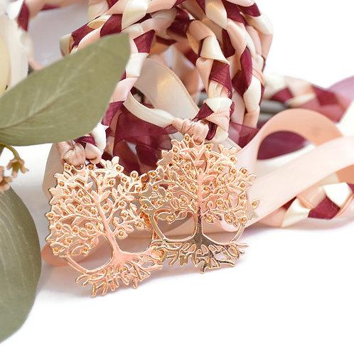 Burgundy Champagne Beltane Tree of Life Wedding Handfasting Cord #Wedding