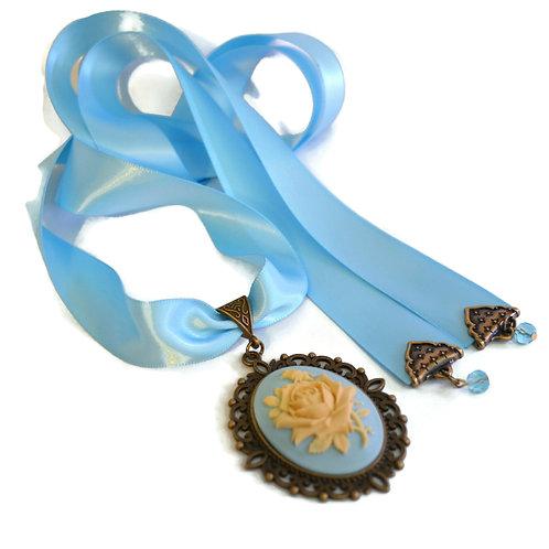 OOAK Victorian Capri Blue Rose Cameo Ribbon Necklace