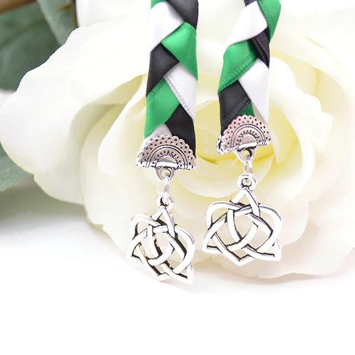 Emerald Black Celtic Heart Knot v4 Wedding Handfasting Cord #Wedding