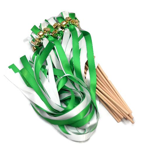 50 Ribbon Bell Wands Kelly Green & White #WeddingWands #FairyWands