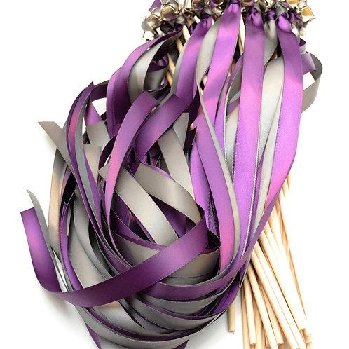 25 Plum & Pewter Ribbon Bell Wedding Wands #WeddingWands #