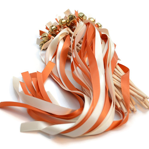 25 Burnt Orange & Ivory Ribbon Bell Wedding Wands #KissingBells #WeddingsWands