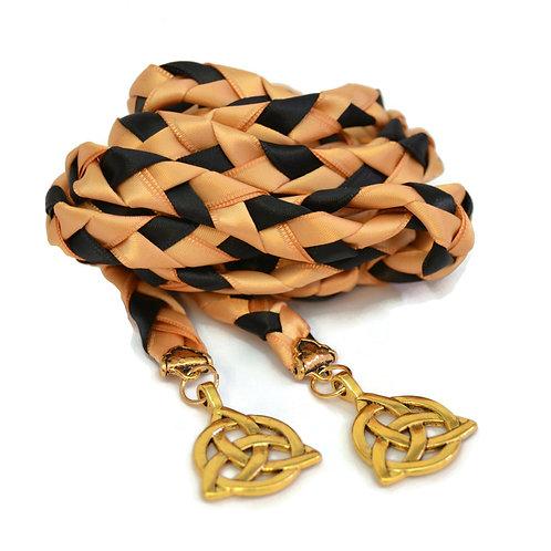 Divinity Braid Gold & Black Celtic Triquetra Wedding Handfasting Cord