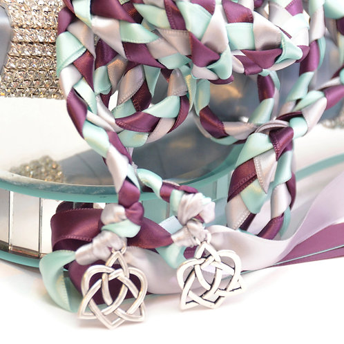 Mystic Wisteria Mint Silver Celtic Heart Wedding Handfasting Cord #Wedding