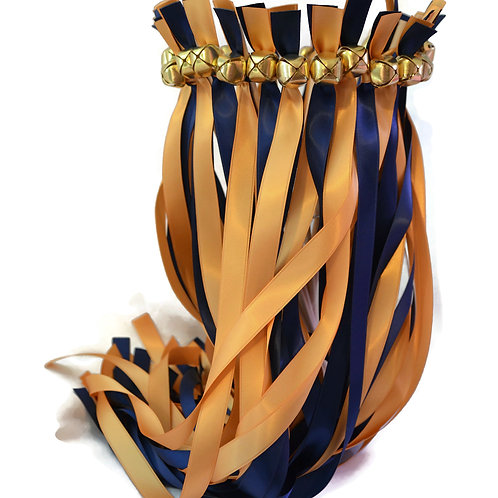 100 Ribbon Bell Wands Navy & Old Gold  #We