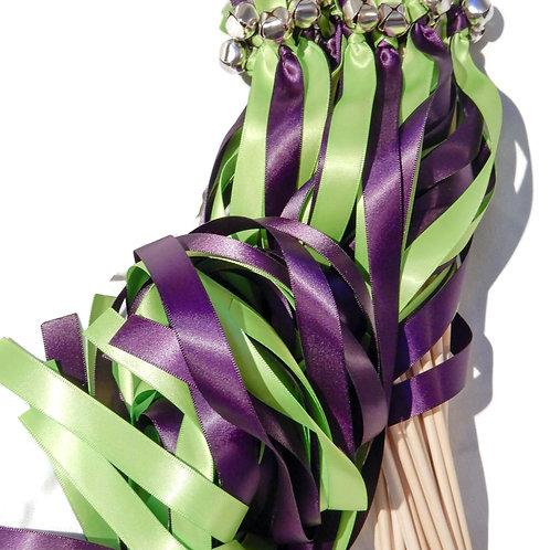 25 Apple Green & Plum Ribbon Bell Wedding Wands