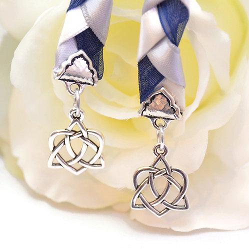 Navy Silver Celtic Heart Knot v5 Wedding Handfasting Cord #Wedding