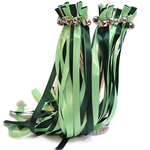 25  Hunter & Mint Greens  Ribbon Bell Wedding Wands