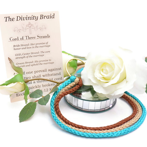 Divinity Braid Cord of Three Strands Turquoise Almond #Wedding