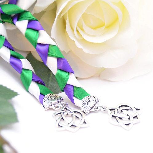 Green Purple Celtic Heart Knot v4 Wedding Handfasting Cord #Wedding