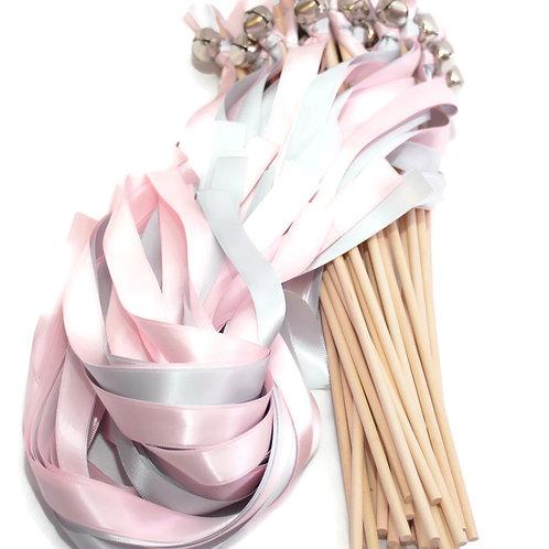 25 Tickled Pink & Silver Ribbon Bell Wedding Wands #WeddingWands #FairyWands