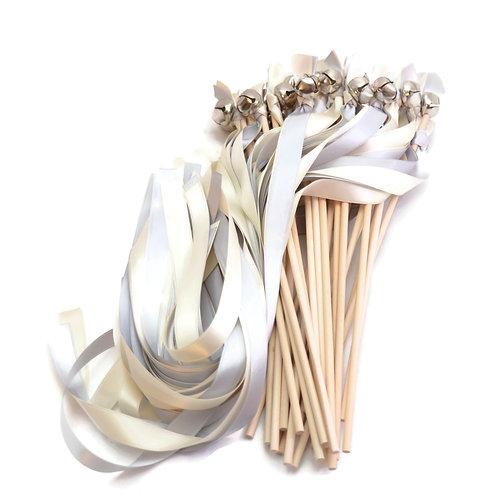 25 Silver & Ivory Ribbon Bell Wedding Wands #WeddingWands