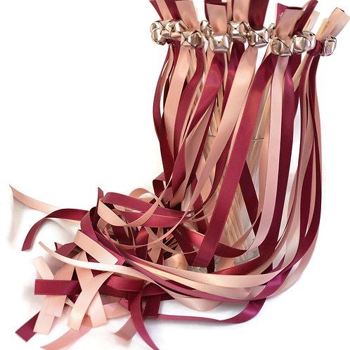 50 Ribbon Bell Wands  Sangria & Antique Mauve   #WeddingWands #Fai